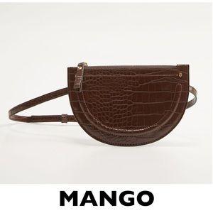 MANGO Brown Croc-Effect Semicircle Shape Belt Bag